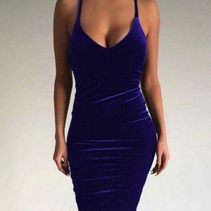 🔷Velvet Blue V Neck Woman's Cocktail dress *NWT*